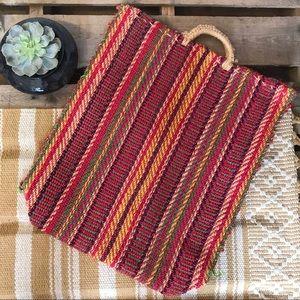 Multicolor woven tote bag